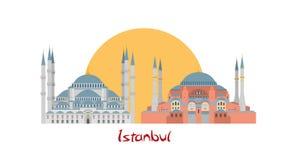 Istanbul banerillustration med den blåa moskén och Hagia Sophia stock illustrationer