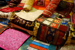 Istanbul Bazaar I. Pillow cases for sale in the Istanbul Grand Bazzar Stock Photography