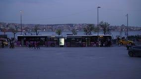 Istanbul Besiktas 2017 People Walk on Square Bus and Ships Yachts on Bosphorus Sea. People walking and ships and yachts work on Bosphorus Sea in Istanbul, Turkey stock video