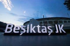 Istanbul Besiktas/Turkiet 07 04 2019: Turkisk sikt för afton för fotbollTeam Besiktas JK stadion, Vodafone arenalandskap royaltyfri fotografi