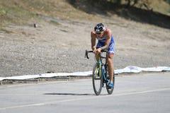 Istanbul Beylikduzu ETU Triathlon European Cup 2017. ISTANBUL, TURKEY - JULY 30, 2017: Athlete competing in cycling component of Istanbul Beylikduzu ETU stock images