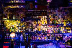 Istanbul, Beyoglu / Turkey 04.11.2019: Blues House, Colorful Design Bar Shelf stock photography