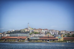 Istanbul from boat. Panoramic photo, acting calm and in harmony with nature ... The sky and the sea and the city ... calm and Urban Royalty Free Stock Images