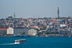 Istanbul from the Bosphorus. Istanbul on the Bosphorus, home of 4000 mosques and spanning 2 continents - Europe and Asia Stock Photo
