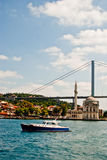 Istanbul from the Bosphorus. Istanbul photographed from the Bosphorus highlighting a river boat, the famous Ortakoy Mosque and the intercontinental Bosphorus Royalty Free Stock Photography