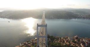 Istanbul bosphorus aerial stock footage