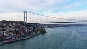 Istanbul Bosphorus Approaching Bridge Aerial View. Filmed by steady drone from distance stock video footage