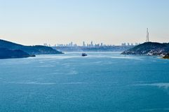 Istanbul Bosphorus Asia and Europe continent. Istanbul Bosphorus, right side Europe left side Asia continent and high buildings in the centre of the city royalty free stock photos