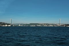 Istanbul Bosphorus Asien och Europa kontinent arkivbild