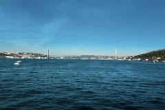 Istanbul Bosphorus Asien och Europa kontinent royaltyfri bild