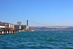 Istanbul Bosphorus Bridge. The Bosphorus Bridge in Istanbul royalty free stock photos