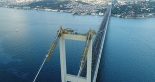 Istanbul Bosphorus Bridge Eurasia Marathon Aerial View 6 stock video