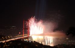 Istanbul Bosphorus Bridge and Fireworks Royalty Free Stock Images