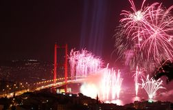 Istanbul Bosphorus Bridge and Fireworks Royalty Free Stock Photos