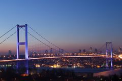 Istanbul Bosphorus Bridge at night Stock Photos