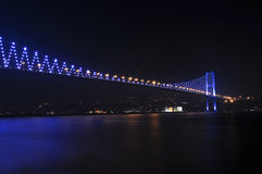 Istanbul Bosphorus Bridge at night, Turkey Stock Images