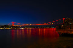 Istanbul Bosphorus Bridge at night, Turkey Stock Photos