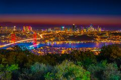 Istanbul Bosphorus Bridge at night. Night view from Camlica Hill. Istanbul, Turkey. royalty free stock images