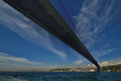 Istanbul Bosphorus Bridge. Photo of The Bosphorus Bridge of Istanbul. It unites two different continents, Asia and Europe Stock Image