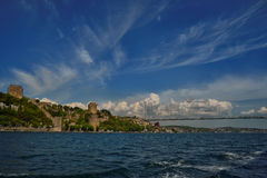 Istanbul Bosphorus Bridge and Rumeli Fortress. Photo of The Bosphorus Bridge of Istanbul and the Rumeli Fortress. It unites two different continents, Asia and Royalty Free Stock Photography