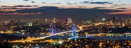 Istanbul Bosphorus Bridge at sunset. 15th July Martyrs Bridge. Night view from Camlica Hill. Istanbul, Turkey royalty free stock photography