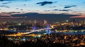 Istanbul Bosphorus Bridge at sunset. 15th July Martyrs Bridge. Night view from Camlica Hill. Istanbul, Turkey stock photos