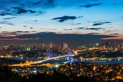 Istanbul Bosphorus Bridge at sunset. 15th July Martyrs Bridge. Night view from Camlica Hill. Istanbul, Turkey stock photography