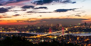 Istanbul Bosphorus Bridge at sunset. 15th July Martyrs Bridge. Night view from Camlica Hill. Istanbul, Turkey stock image