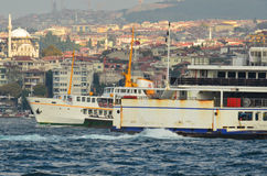 In Istanbul Bosphorus ferries and cruise ships Stock Photo