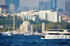 Istanbul Bosphorus and the historic area with photo Royalty Free Stock Photos