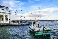 Istanbul Bosphorus, Istanbul landscape under a cloudy sky stock photography