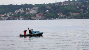 Istanbul Bosphorus 25 June 2010 - Fishermen at Bosphorus. Close up stock video footage
