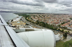 Istanbul and Bosphorus from low flying airplane Royalty Free Stock Photography