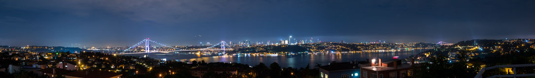 Istanbul Bosphorus Panorama. Panorama of the Bosphorus from the first bridge to the second bridge. Taken at night Stock Image
