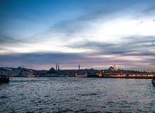 İstanbul Bosphorus at sunset stock images