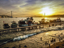 Istanbul Bosphorus Sunset Coast Stock Photo