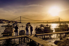 Istanbul Bosphorus Sunset Coast Stock Image
