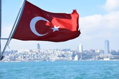 Ä°stanbul Bosphorus - Turkey Flag. Ä°stanbul Bosphorus - Turkish Flag Turkey Turkey flag Turkey flag on Dardanelles Strait royalty free stock photography