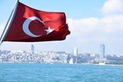 Ä°stanbul Bosphorus -Turkey Flag. Ä°stanbul Bosphorus - Turkish Flag Turkey Turkey flag Turkey flag on Dardanelles Strait royalty free stock image