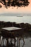 Istanbul Bosphorus waterfront cafe Stock Photography