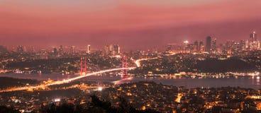 Istanbul Bosporus Bridge on sunset. Istanbul Bosporus Bridge skyline on sunset royalty free stock photography