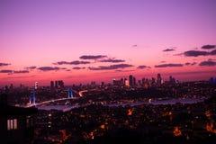 Istanbul Bosporus Bridge on sunset. Istanbul Bosporus Bridge on a sunset royalty free stock photo
