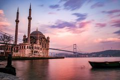 Istanbul Bosporus and Ortakoy long exposure photo Stock Image