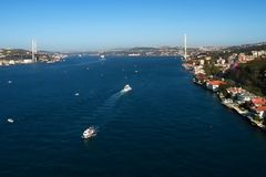 Istanbul bosporus and 15 Temmuz sehitler bridge with asia and europue side buildings. Drone shoot Royalty Free Stock Photography