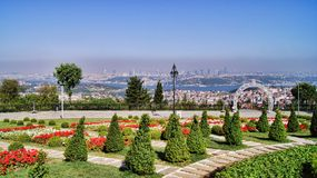 Istanbul Camlica Hill Overview Bosphorus Bridge. On the Camlica Hill garden overviewing the Bosphorus Bridge connecting Europe and Asia royalty free stock photography