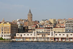 Istanbul city. View of medieval Galata Tower and Golden Horn in Istanbul, Turkey - Beyoglu district stock image