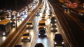 Istanbul city car traffic at night stock footage