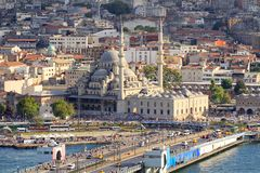 Istanbul city center. Yeni Mosque and part of Galata Bridge.  High angle view of old city in Istanbul, Turkey Royalty Free Stock Photography