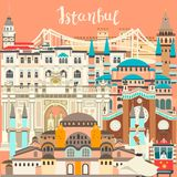 Istanbul City colorful vector card. Famous Istanbul building vector illustration