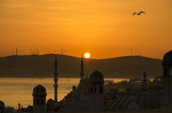 Istanbul city day is dawning Royalty Free Stock Photo